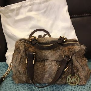 Michael Kors Grayson rabbit fur satchel/crossbody